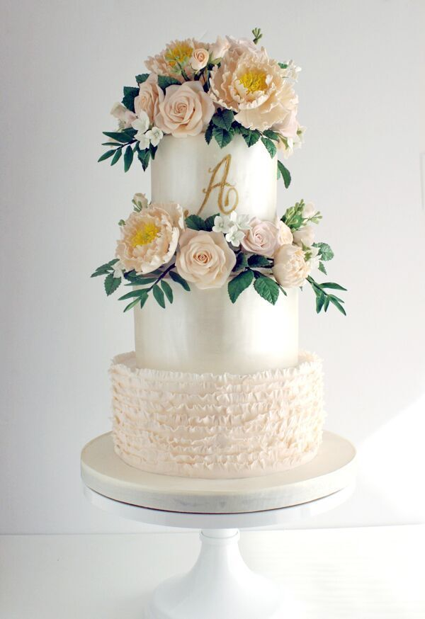 White and Peach fondant Wedding cake