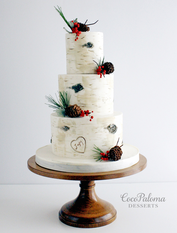 White birch tree Bark Wedding cake