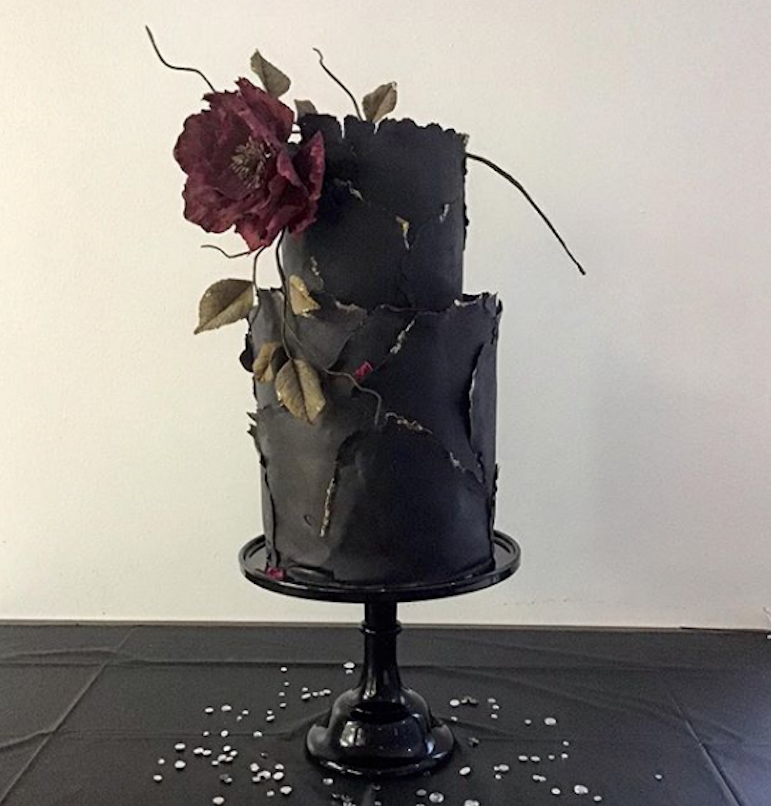 Matte Black fondant wedding cake