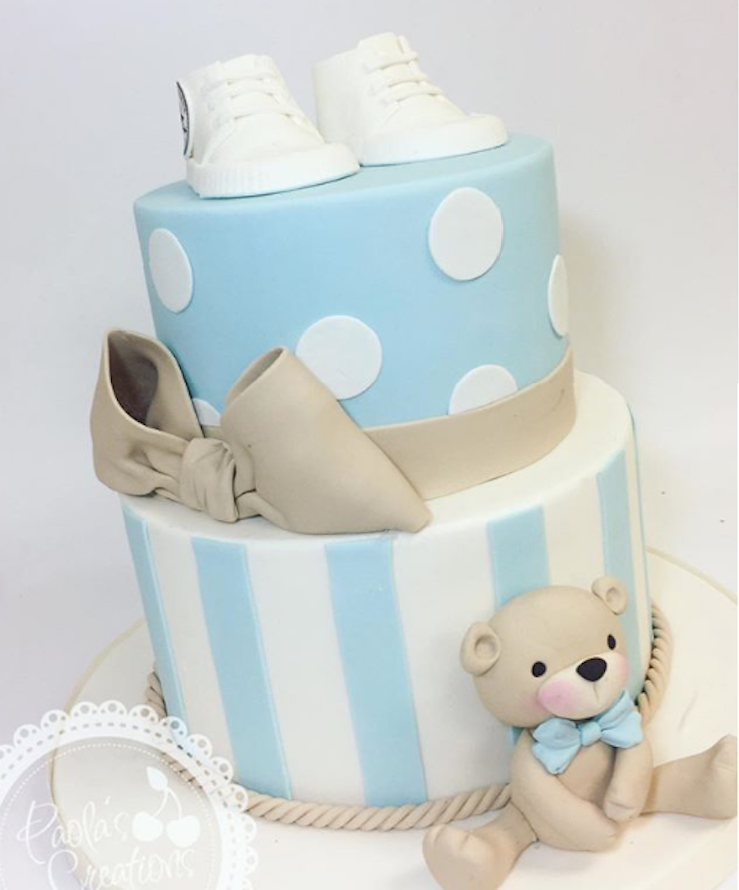 Baby blue and white teddy bear fondant cake