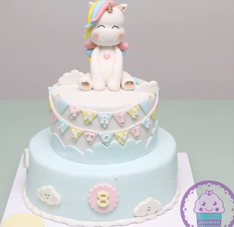Unicorn fondant topper birthday cake