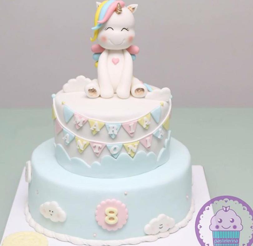 Unicorn fondant topper birthday cake