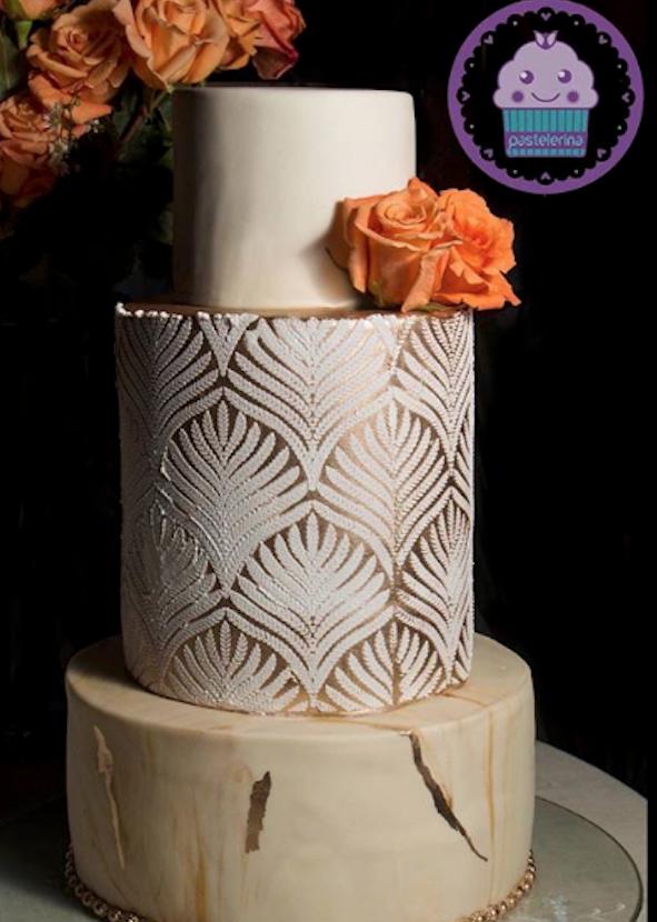 Taupe and white fondant wedding cake with orange flower