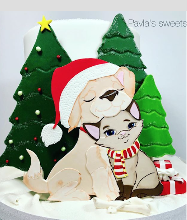 2D fondant Christmas puppy cake
