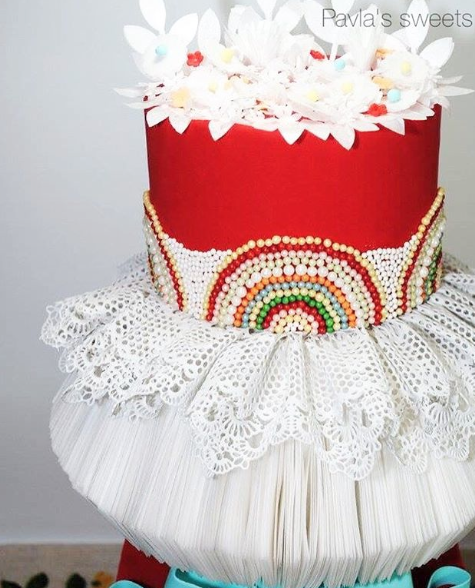 Red spanish themed wedding cake