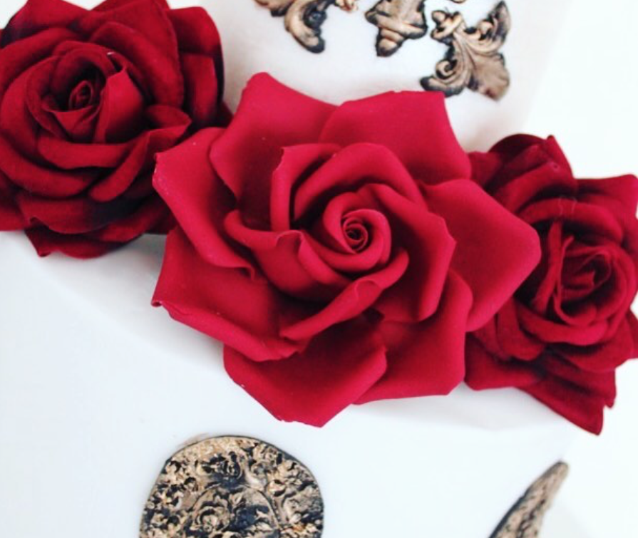 Red sugar flower roses