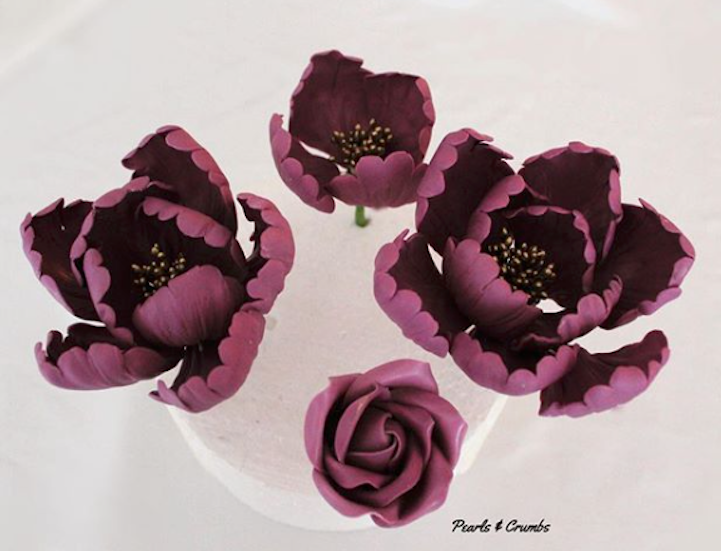 Burgundy Sugar flowers