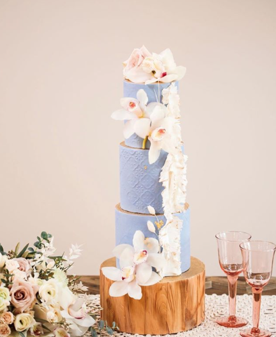 Baby blue moroccan fondant wedding cake