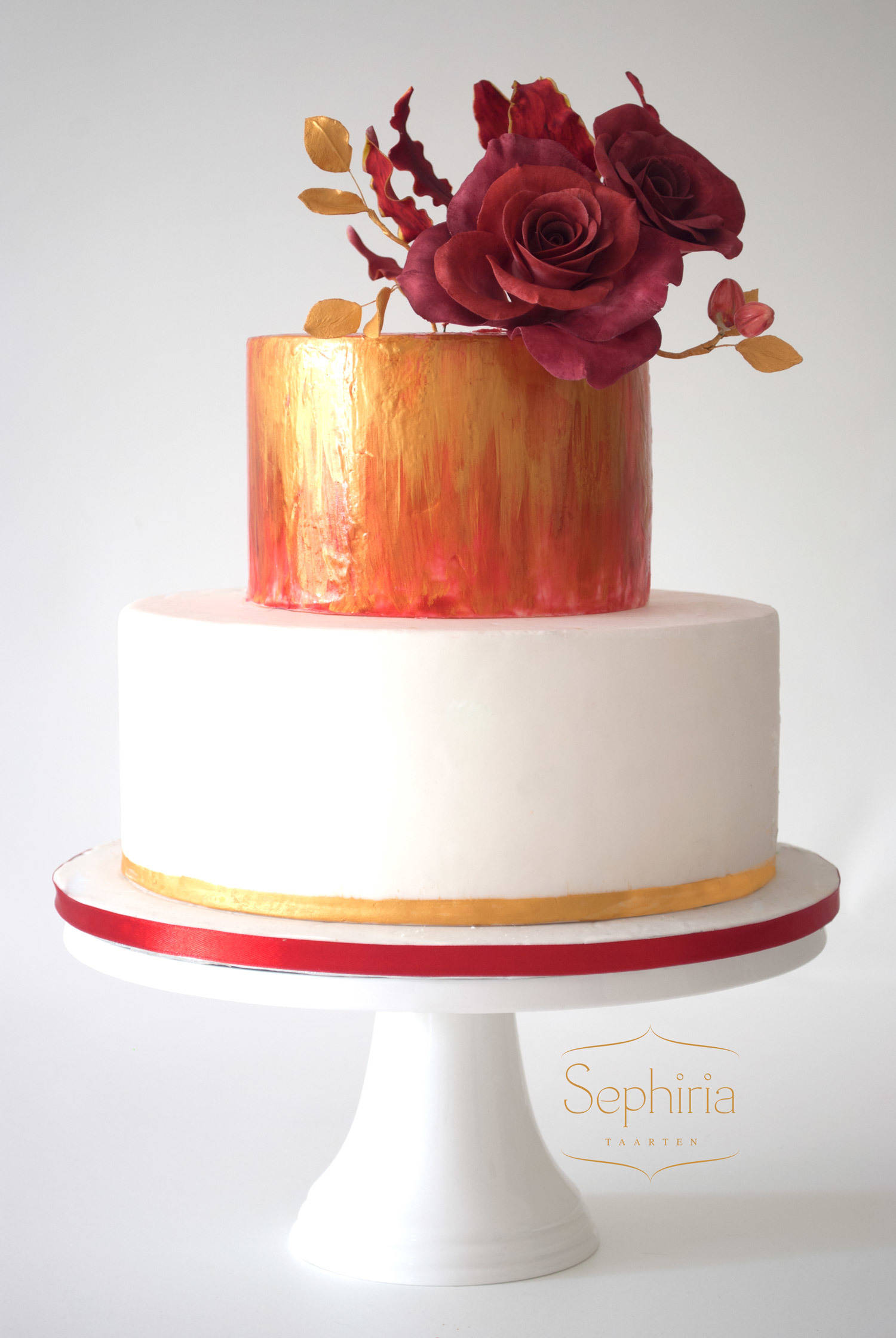 Burnt Orange fondant Wedding cake