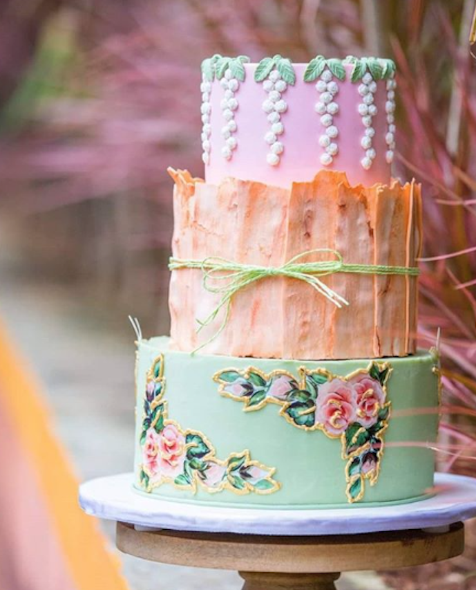 Light green, peach and pink fondant wedding cake