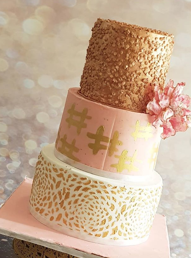 Rose gold fondant wedding cake with sequins