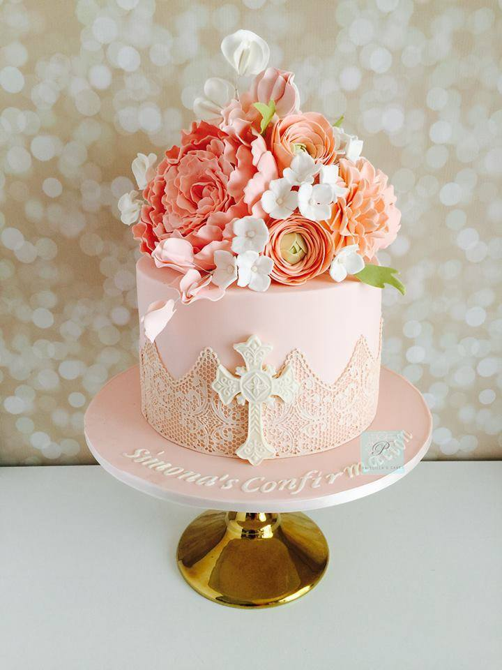 All baby pink fondant religious cake