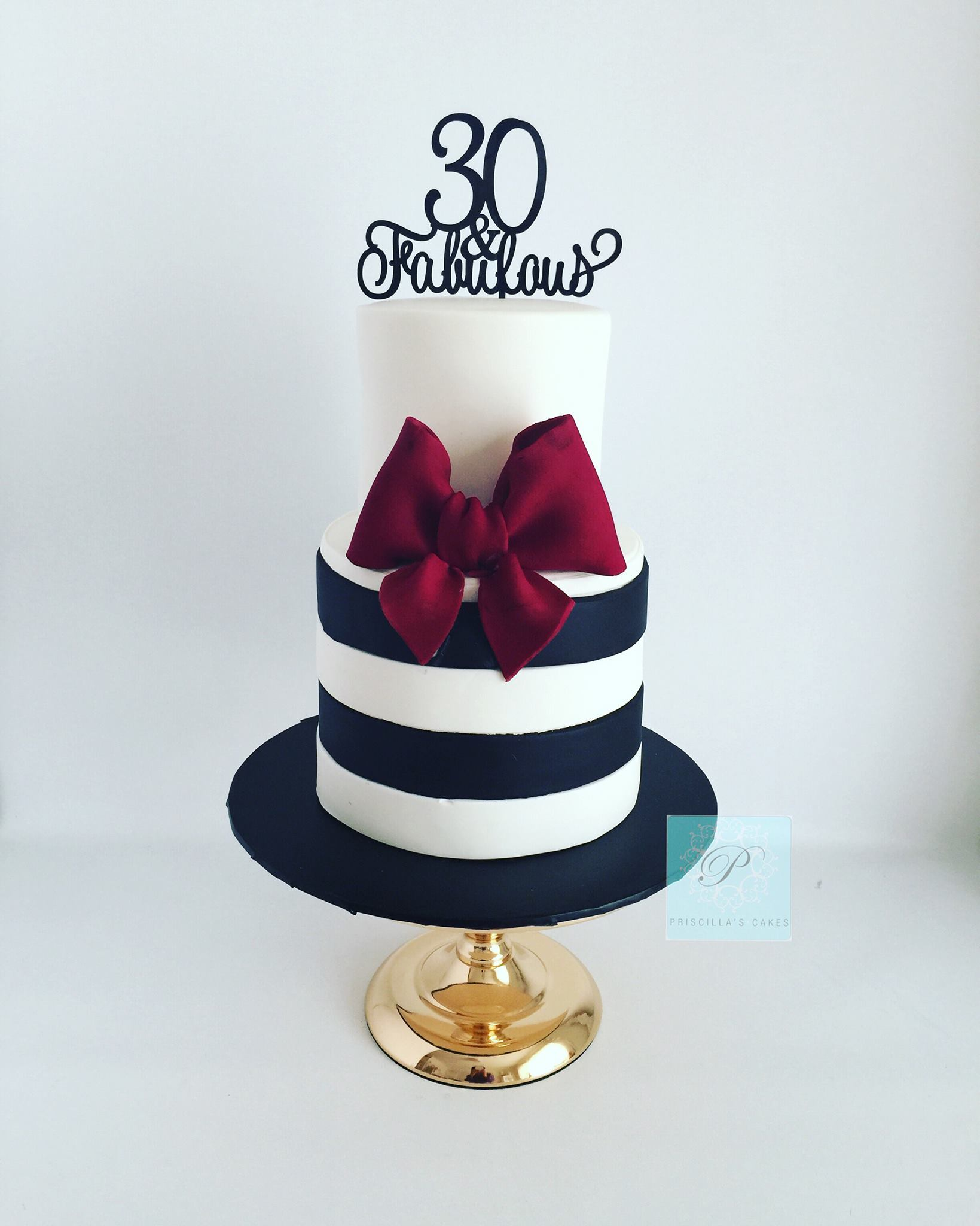 Black & White Striped fondant Birthday Cake