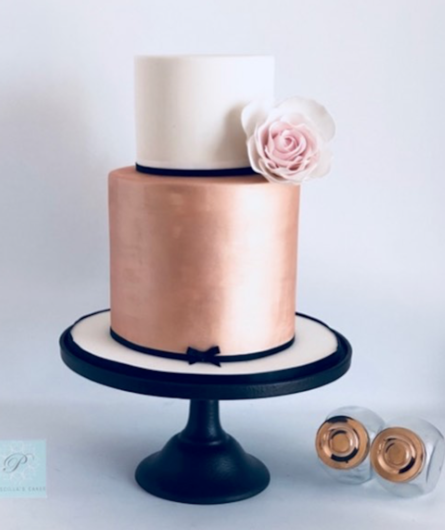 Rose gold and ivory fondant wedding cake