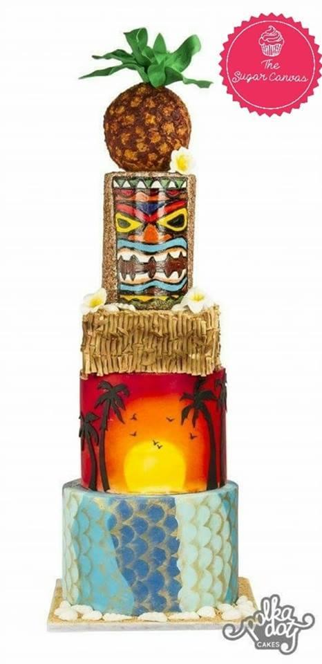 Polynesian island fondant cake