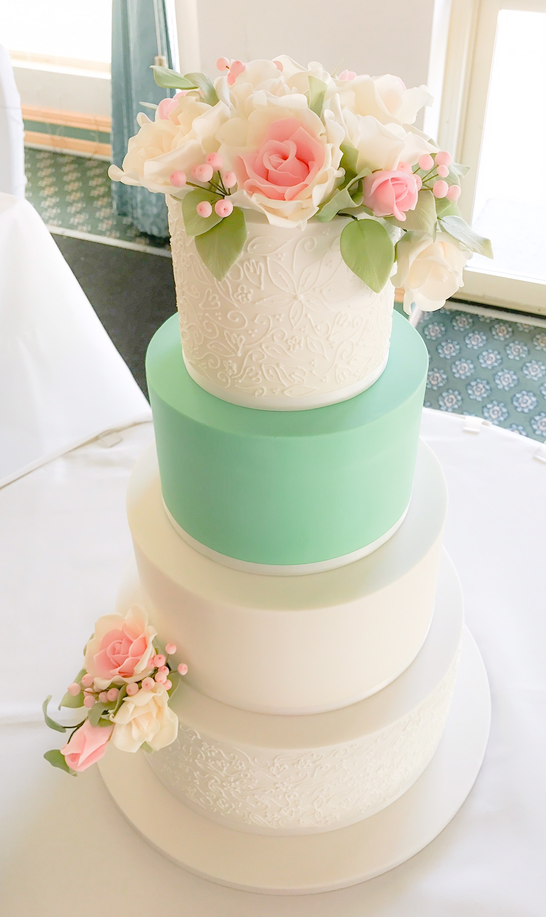White and mint green wedding