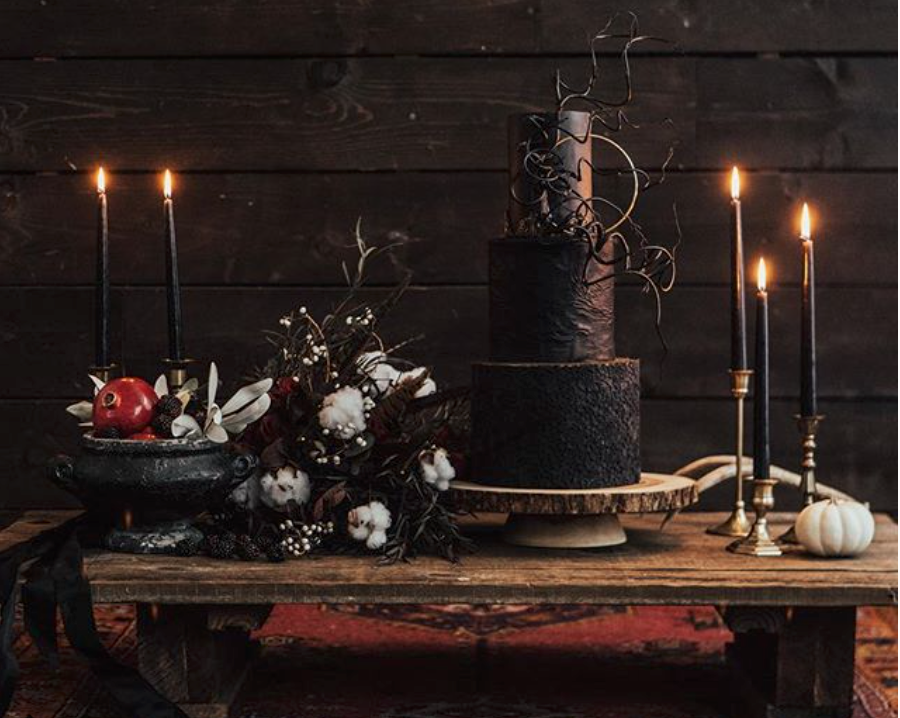 All black textured wedding cake