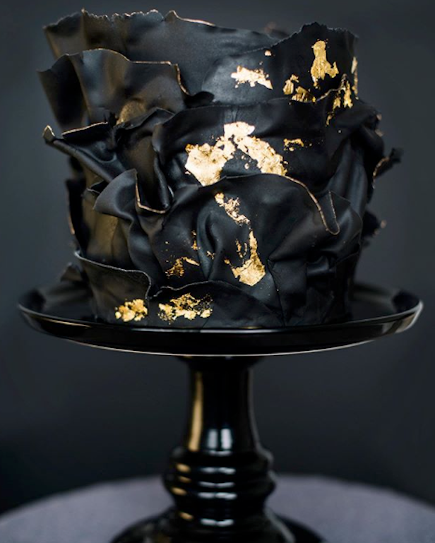 Black and gold mermaid ruffle fondant cake