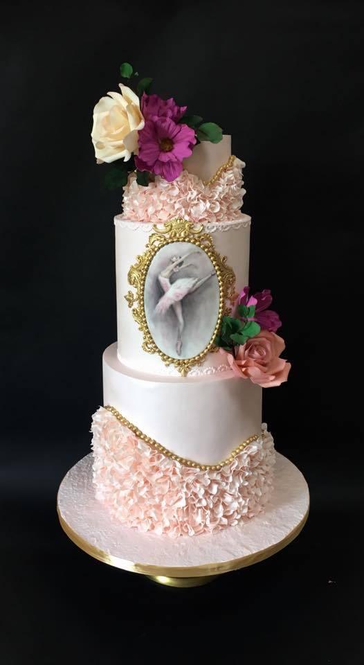 Ballerina ruffle birthday cake