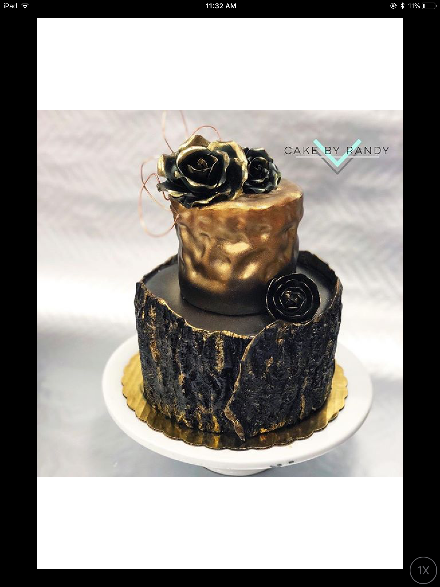 All black wedding cake with gold accents