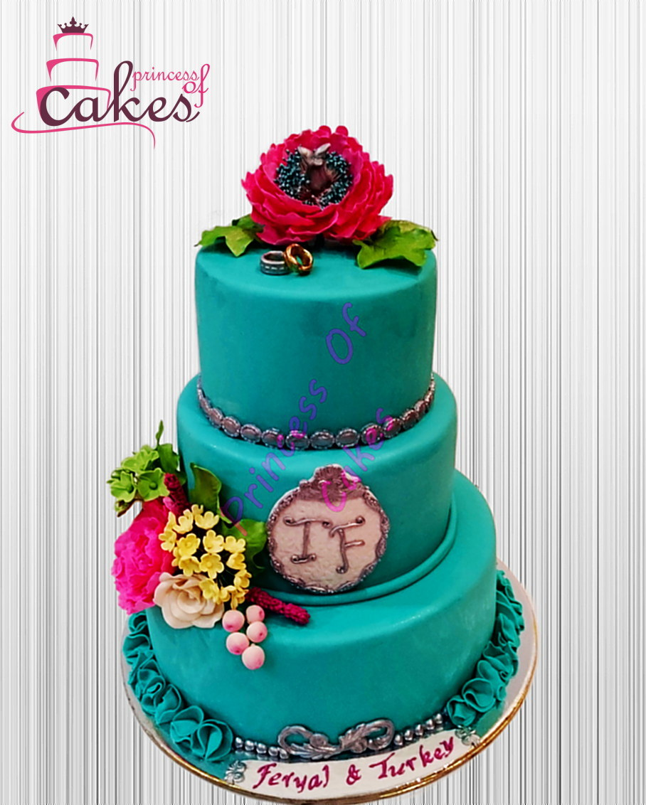 Turquoise fondant Wedding cake