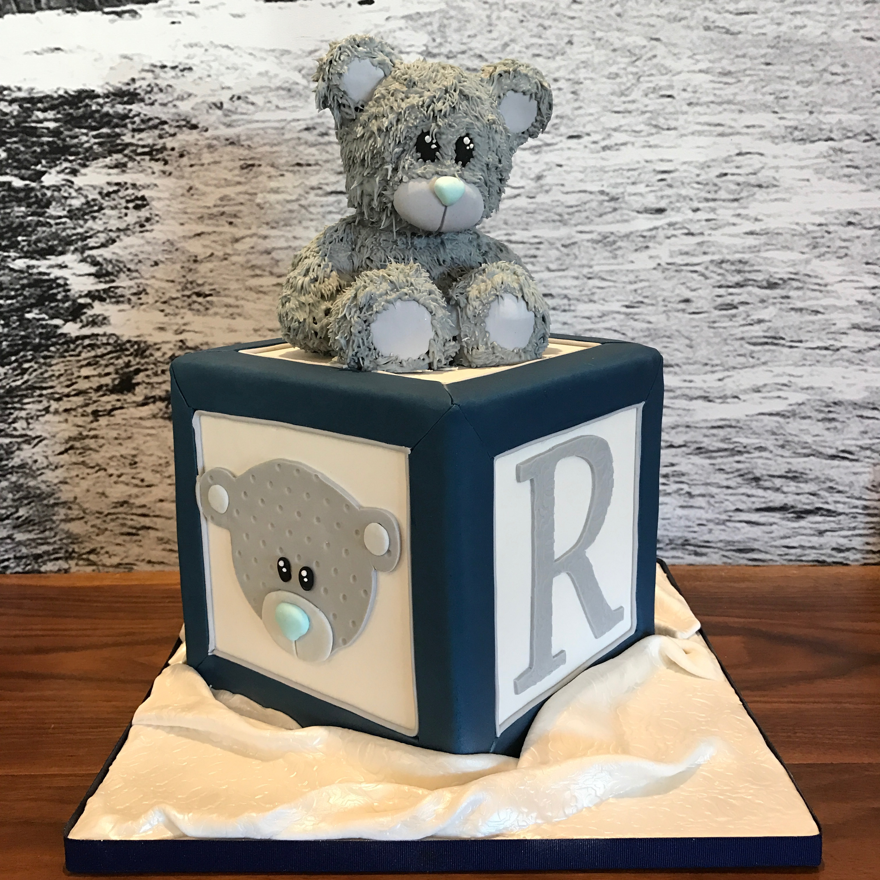 Navy blue and gray baby block cake