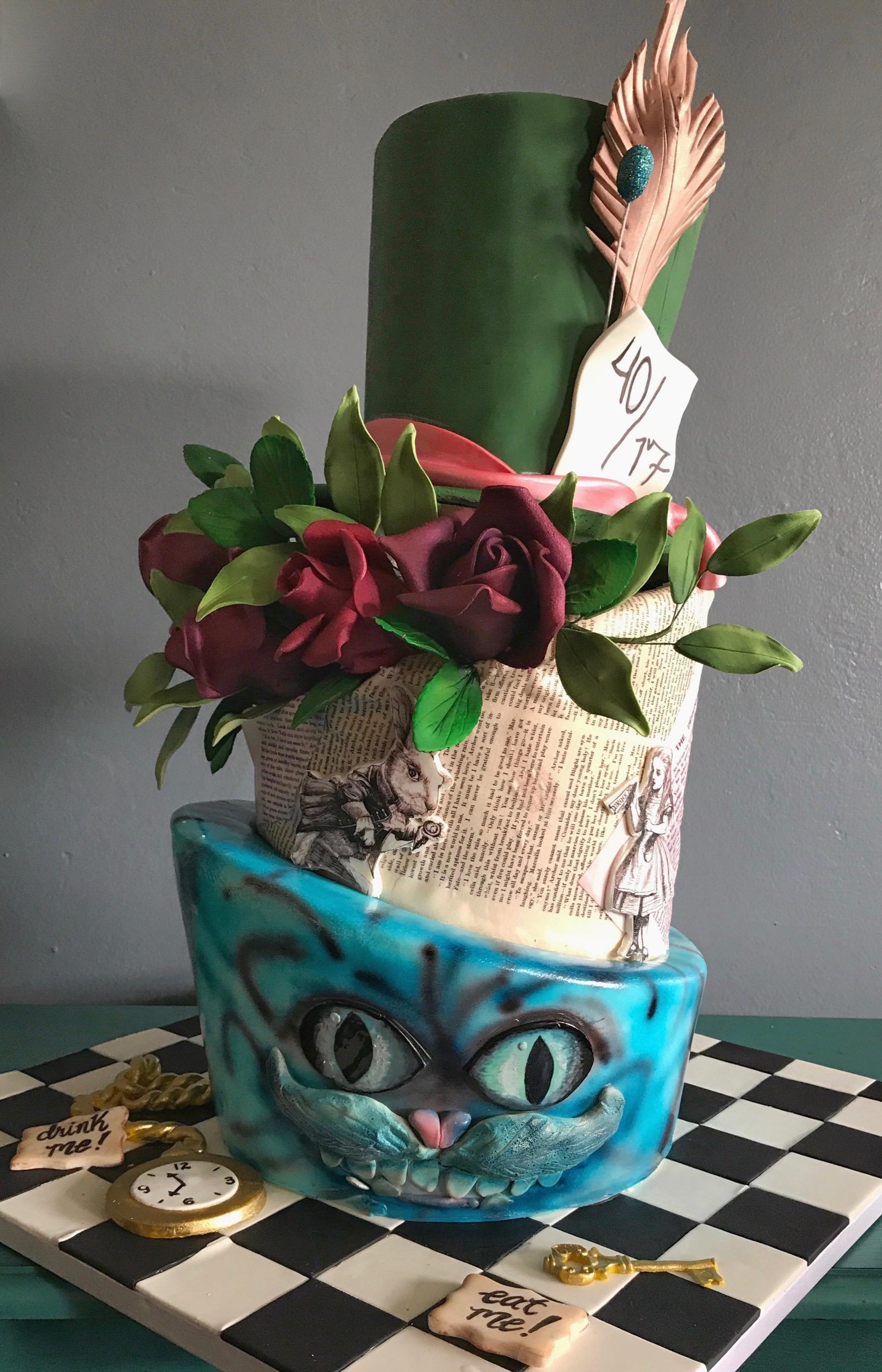 Topsy Turvy green alice in wonderland cake