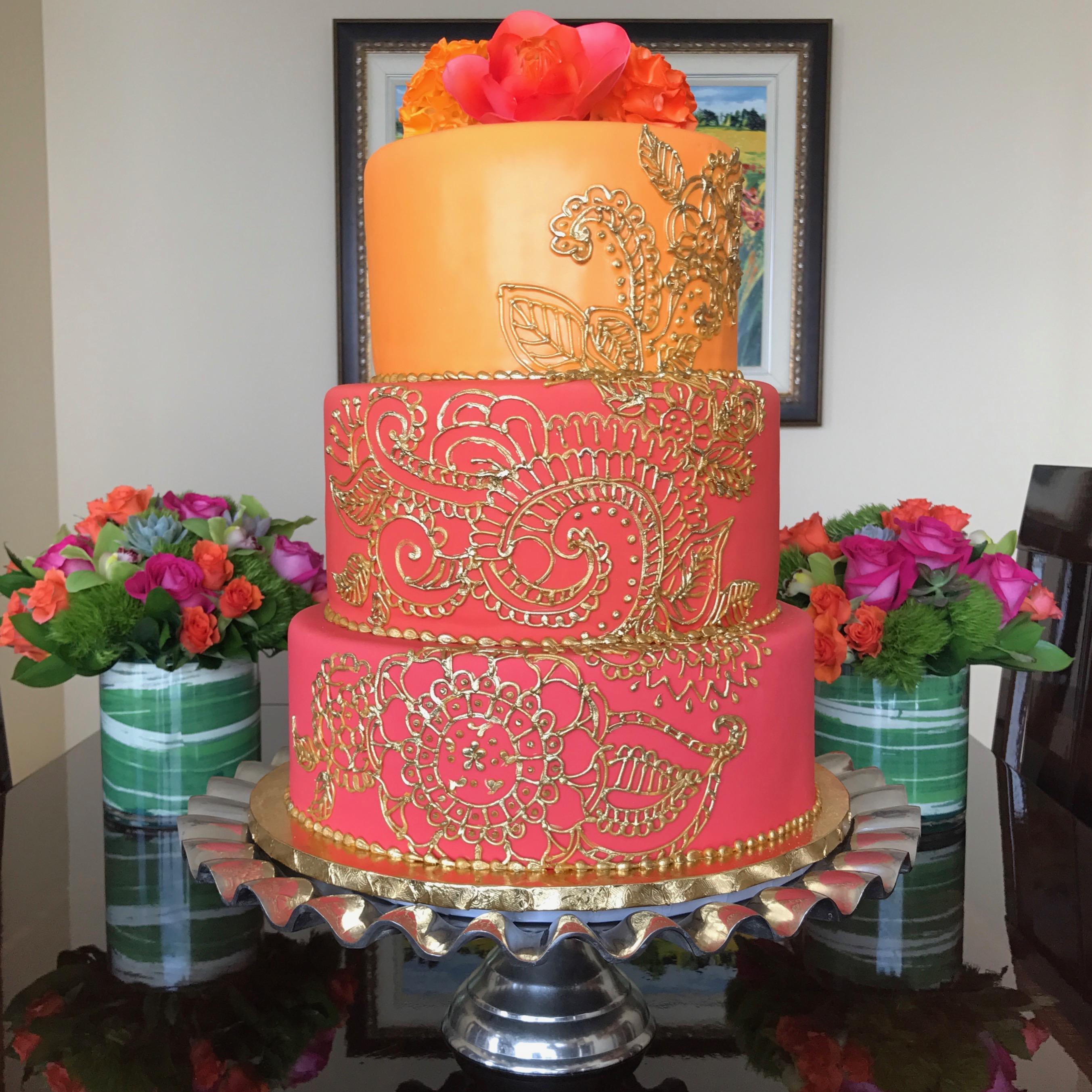 Pink and Orange fondant wedding cake