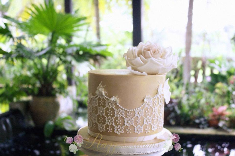 Taupe and white fondant cake with lace