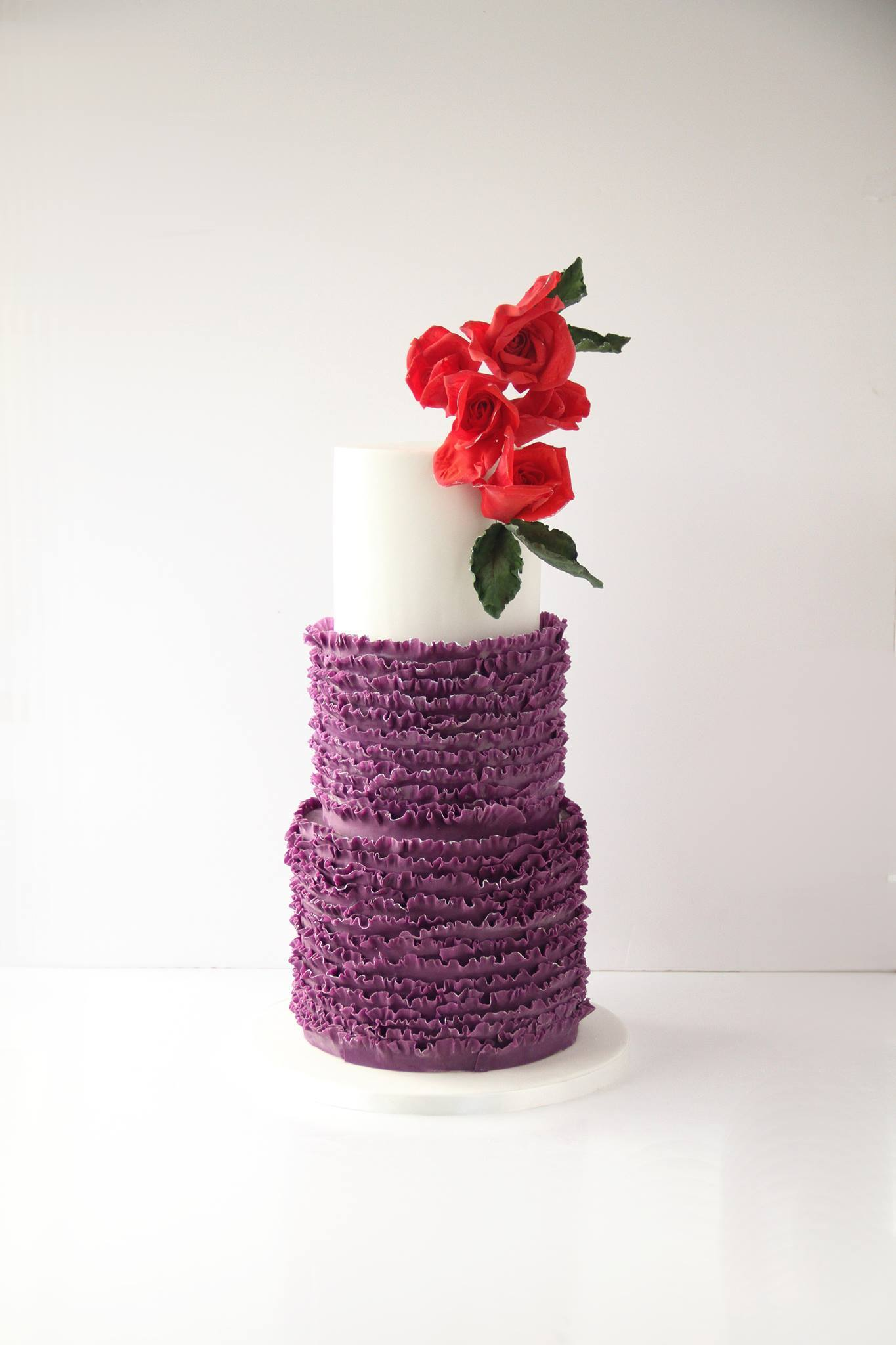 White & Purple Ruffle Wedding cake