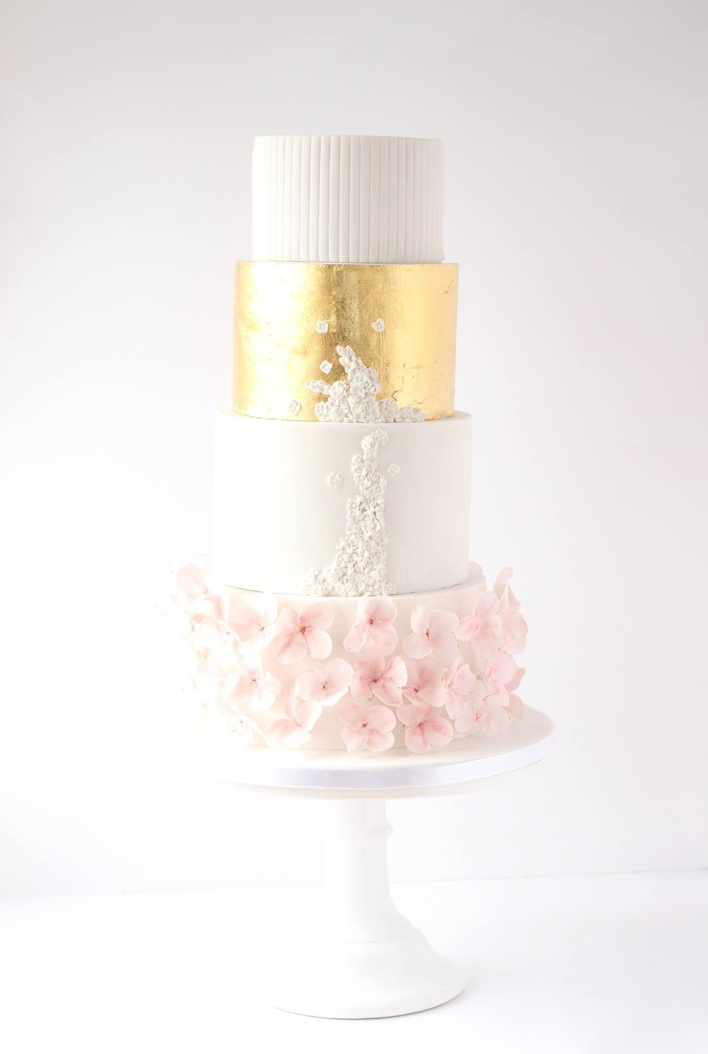 White Gold and Pink fondant ruffle Wedding cake