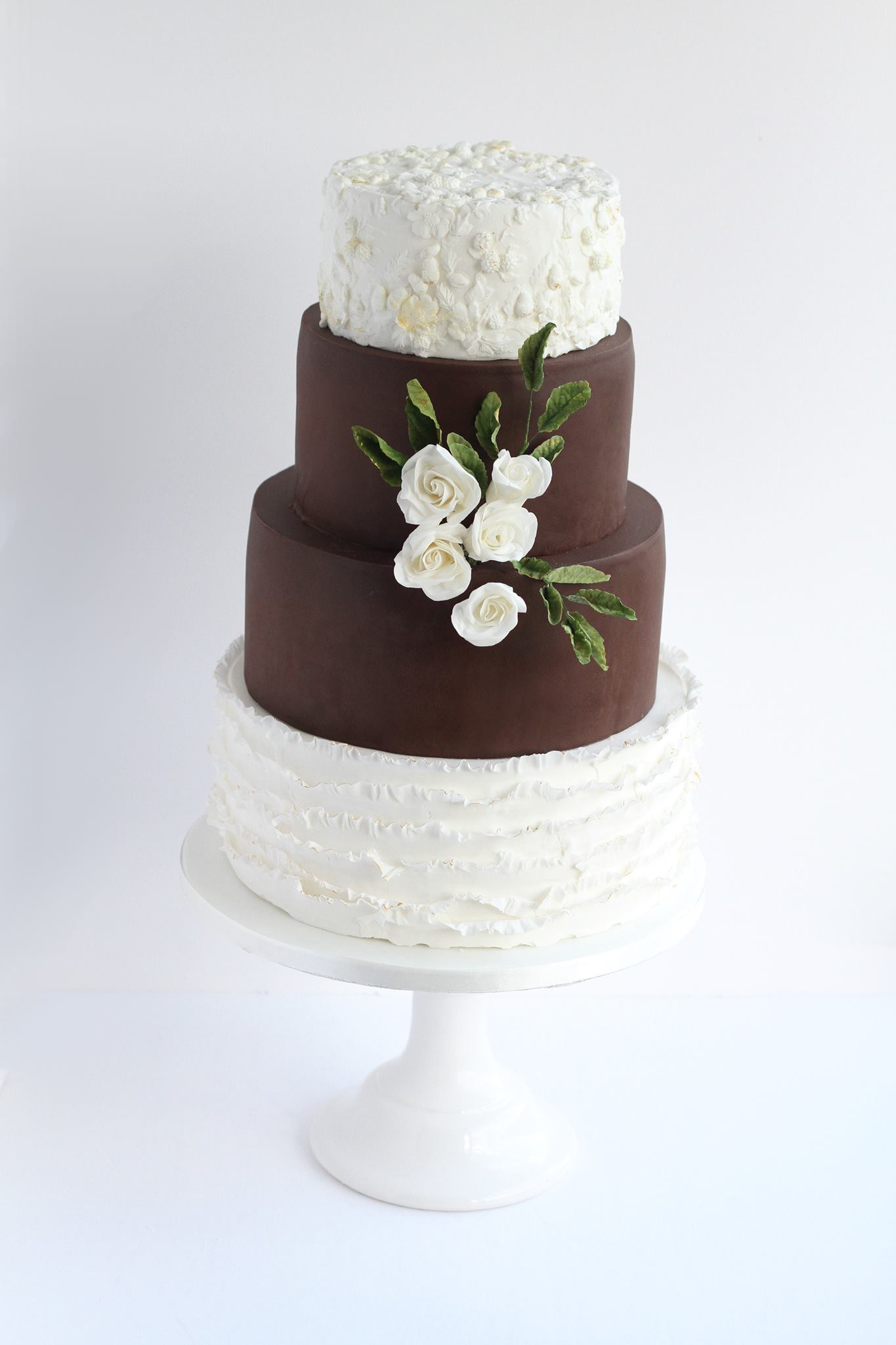 Brown and White fondant ruffle wedding cake
