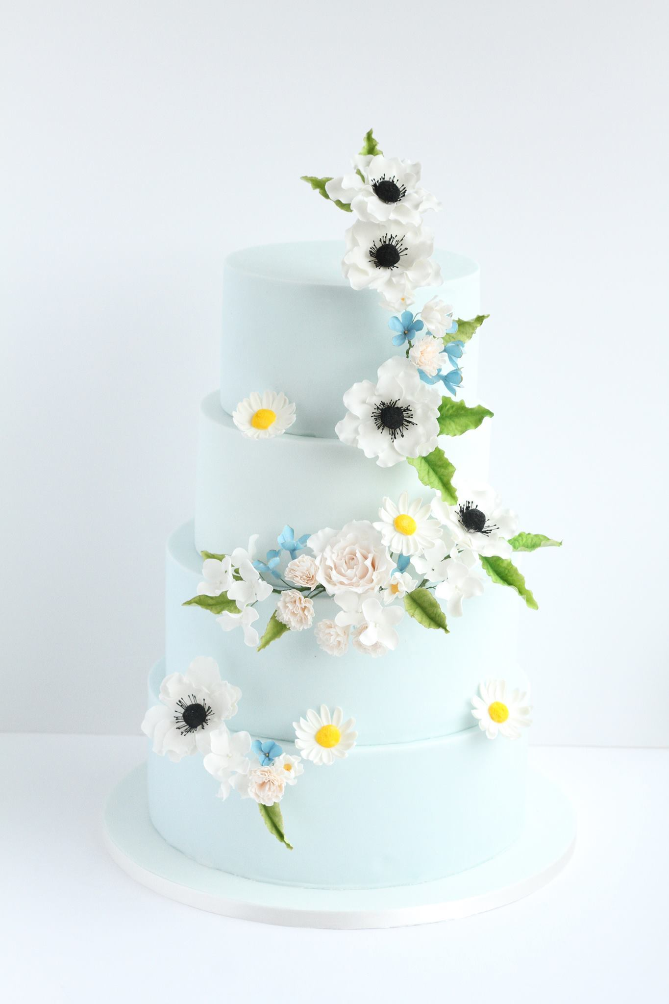 Baby blue wedding with sugar anemones