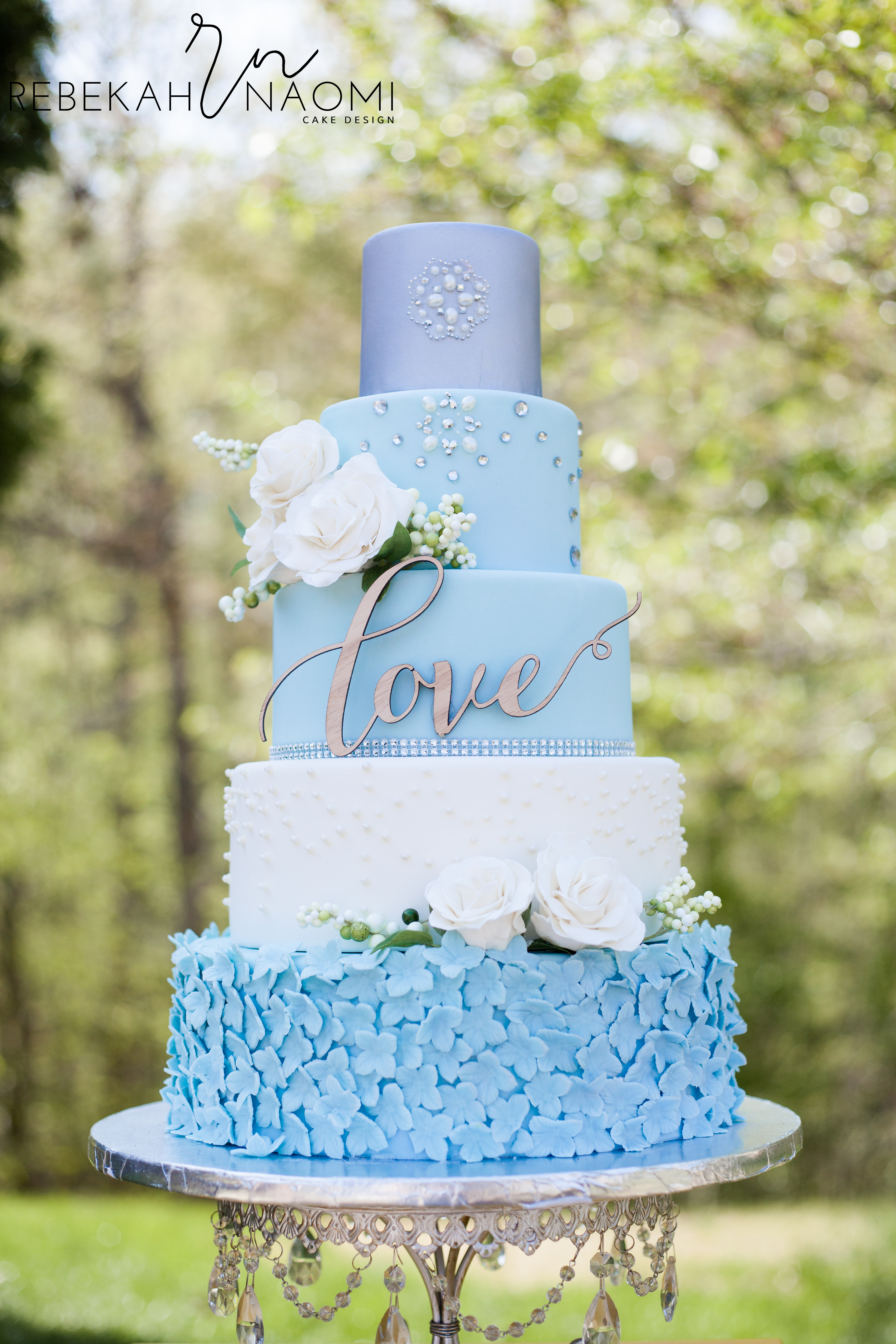 Baby Blue and white ruffle wedding cake
