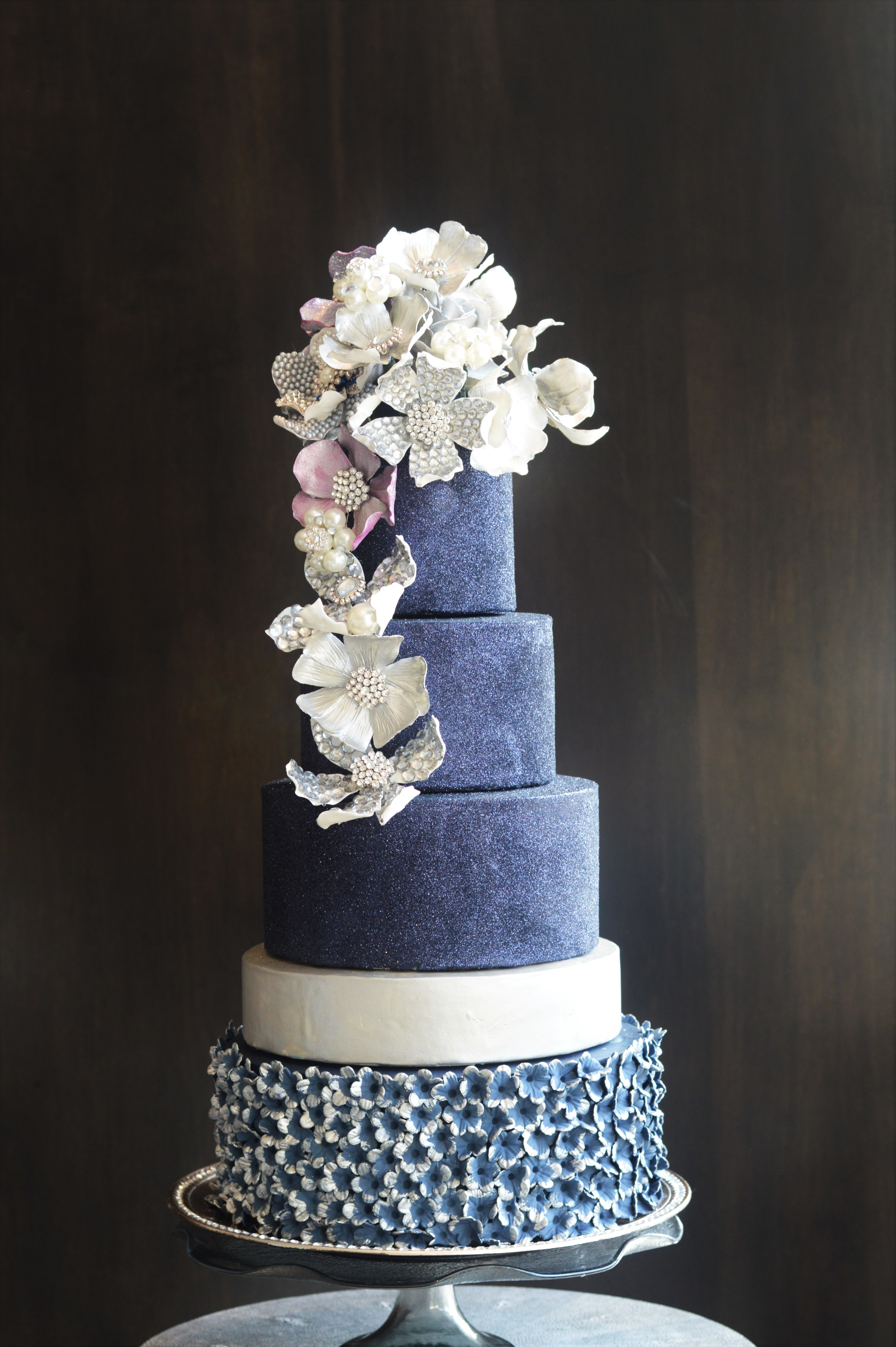 Bold & Beautiful Navy blue sparkle wedding cake