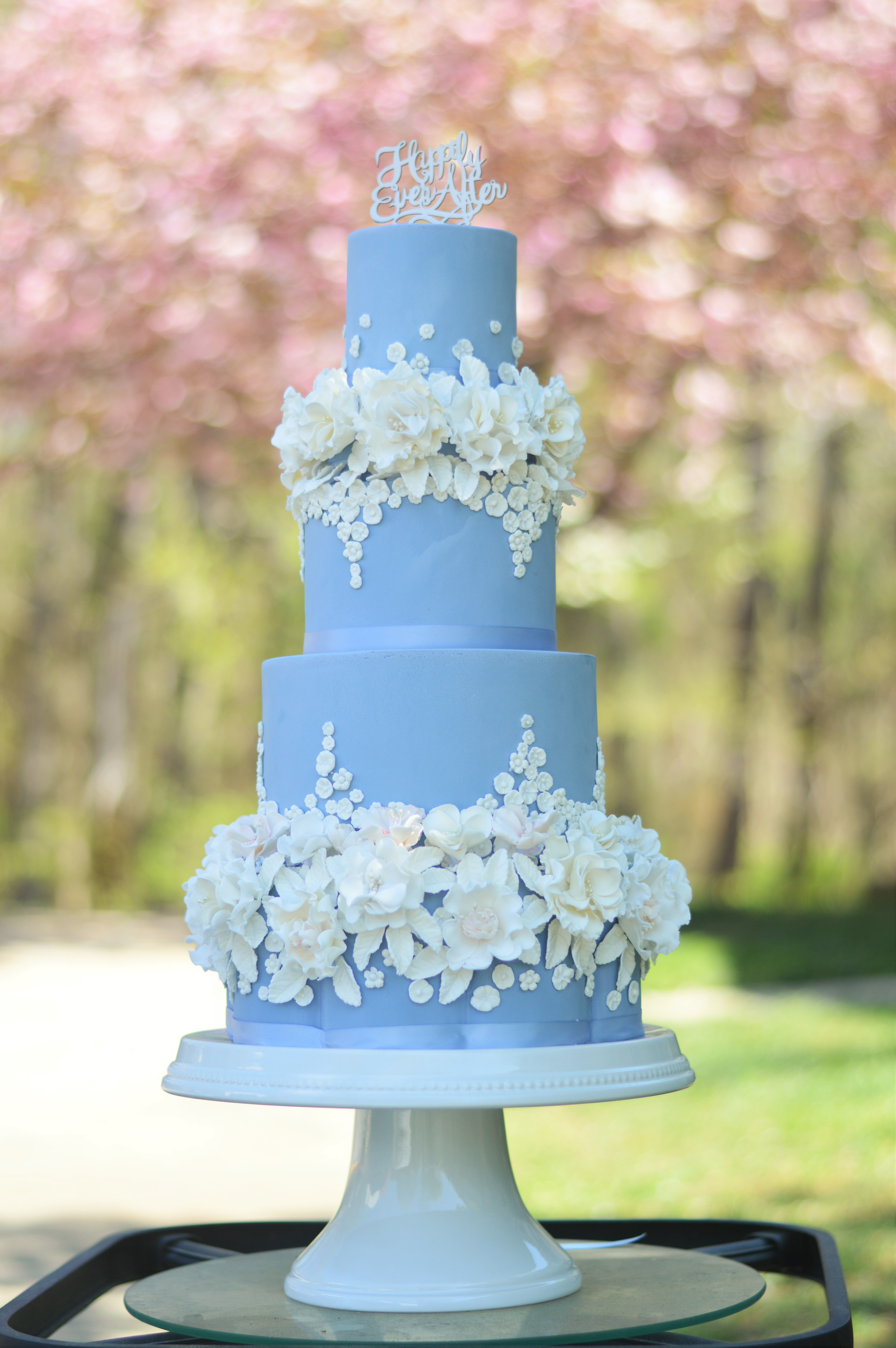 Baby blue ruffle wedding cake