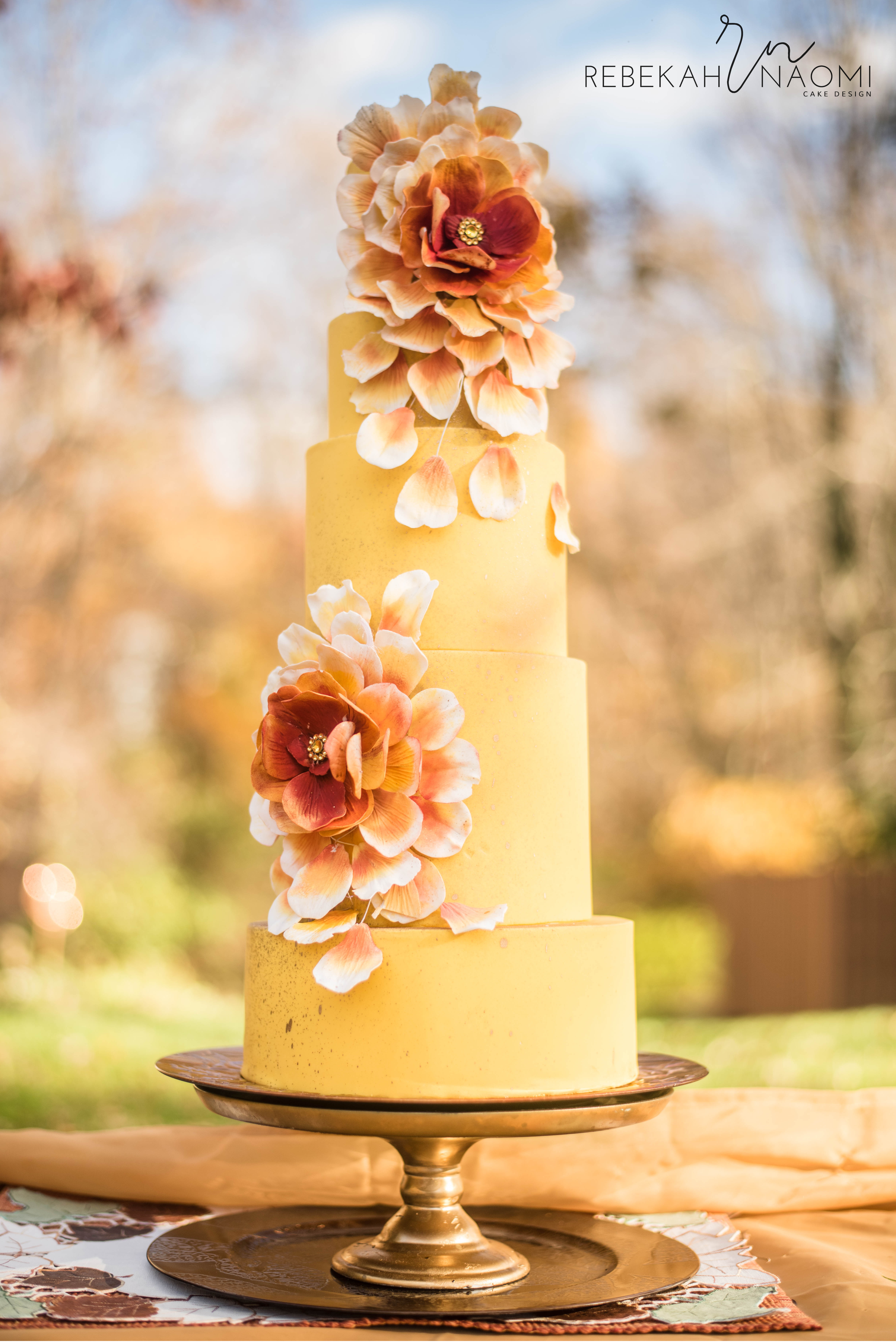 All pastel yellow wedding cake