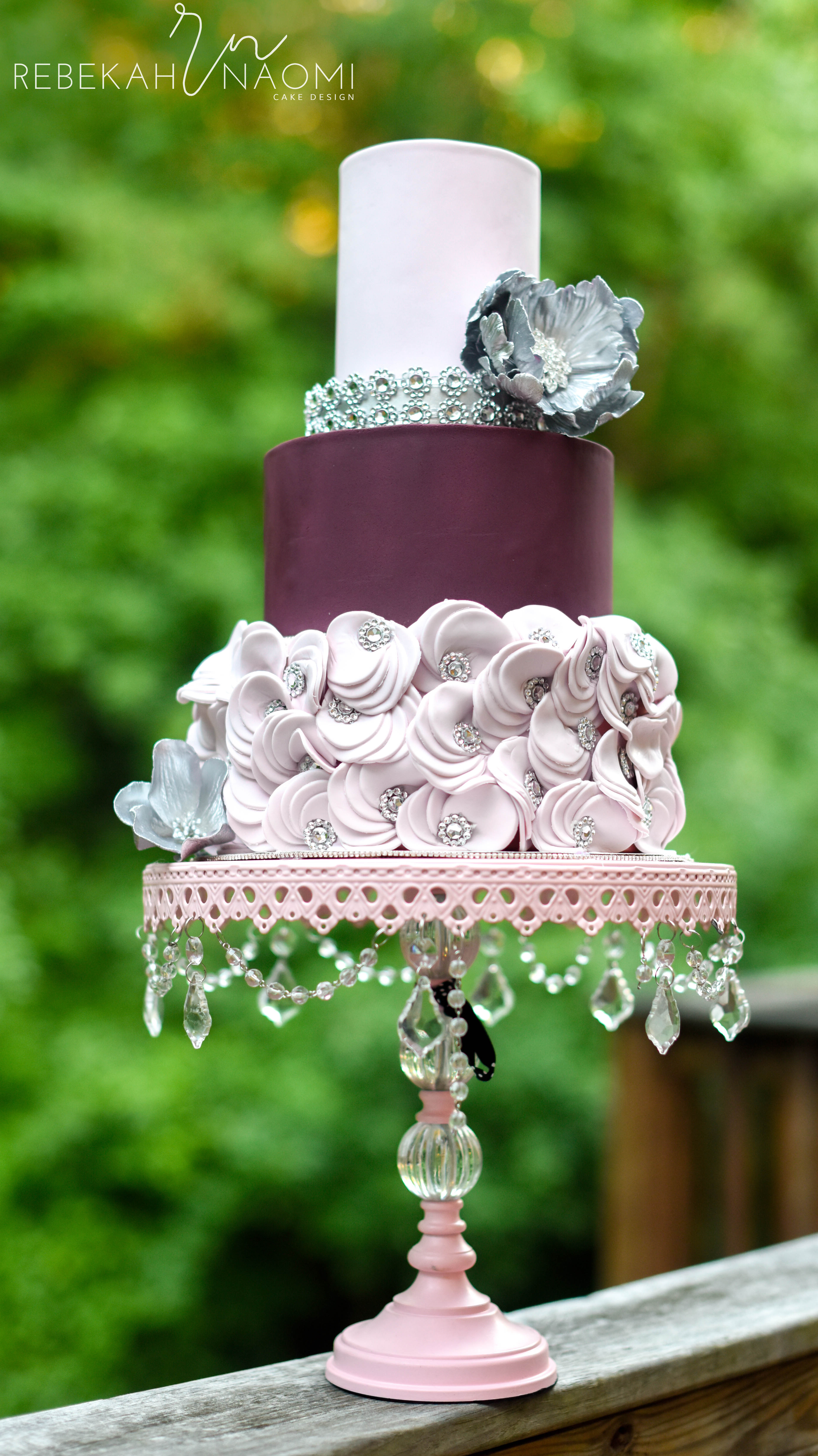 Burgundy and blush ruffle wedding cake