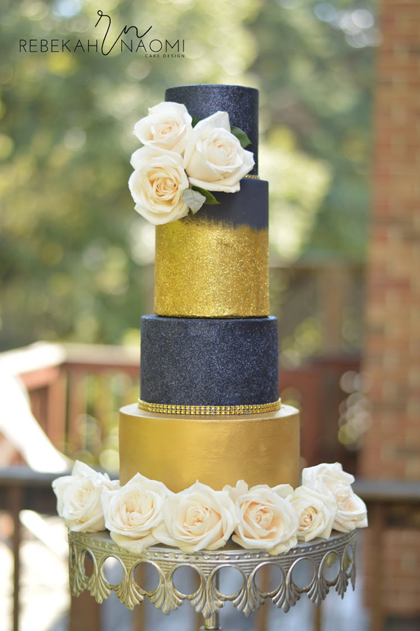 Gold & Navy blue sparkle Romance wedding cake