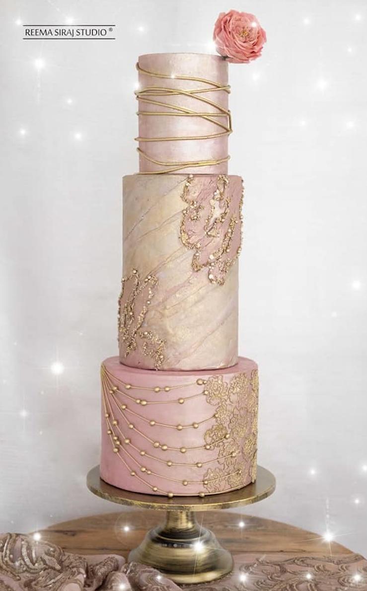 Rose gold fondant wedding cake