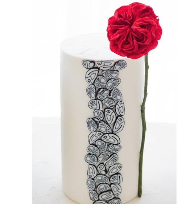 White fondant cake with stone pattern