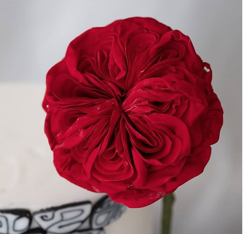 Red sugar flower