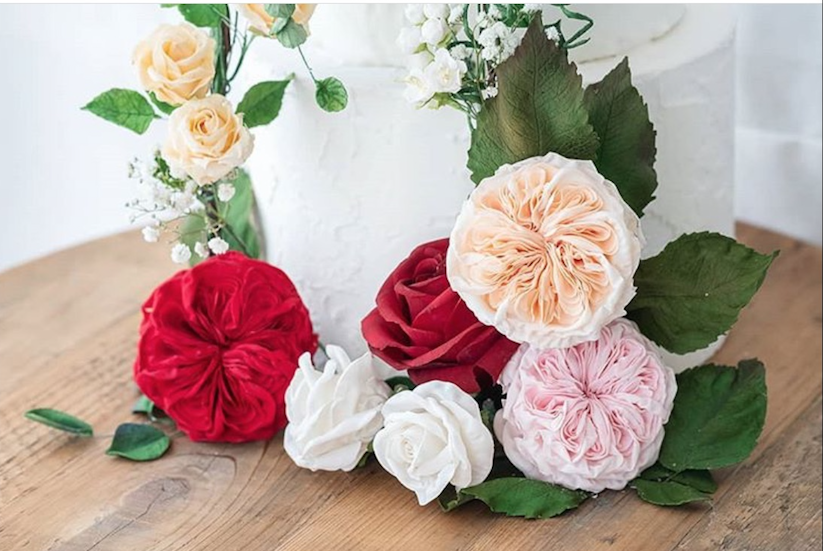 Baby pink and red sugar flower bouquet