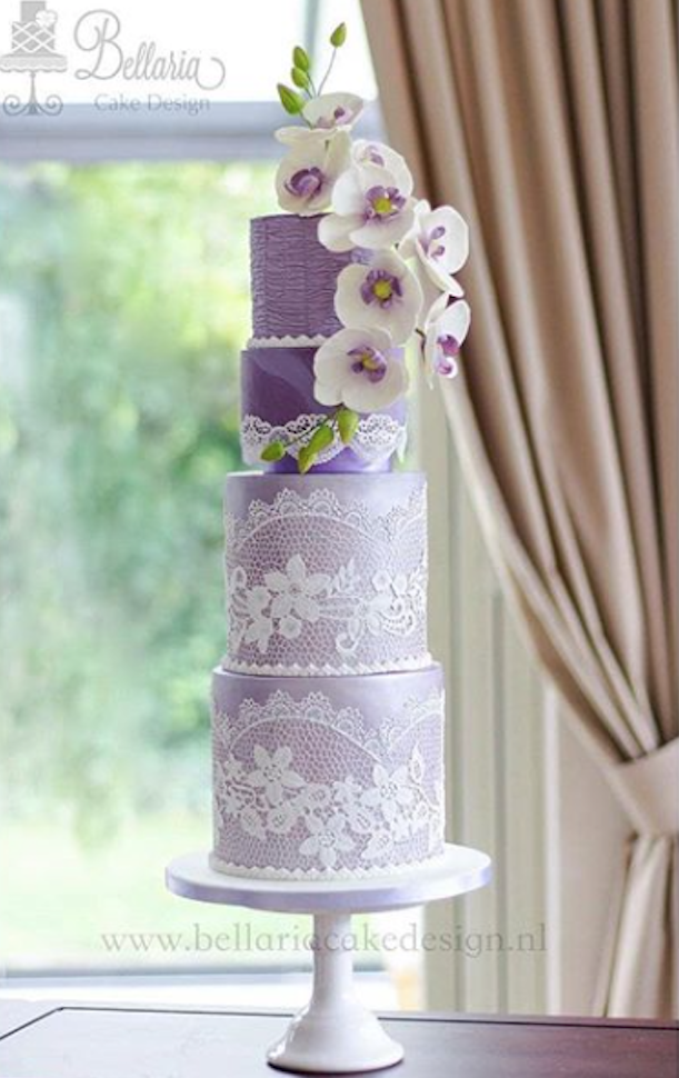 All lavender fondant wedding cake with lace