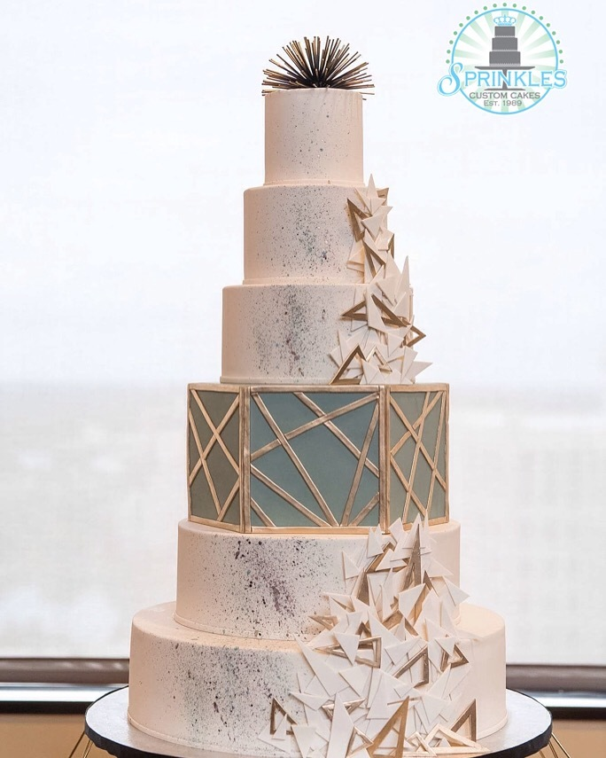 Silver & White geometric fondant Wedding cake