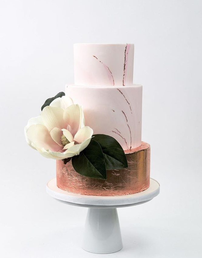 White and copper fondant wedding cake