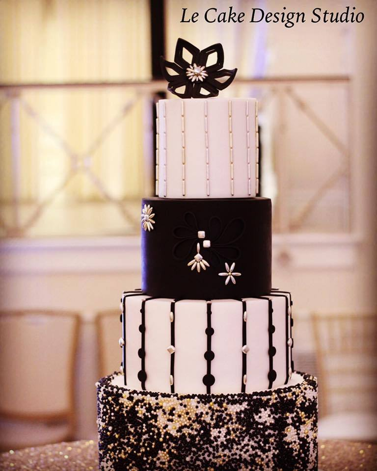 Black and white fondant cake with black sugar flowrers