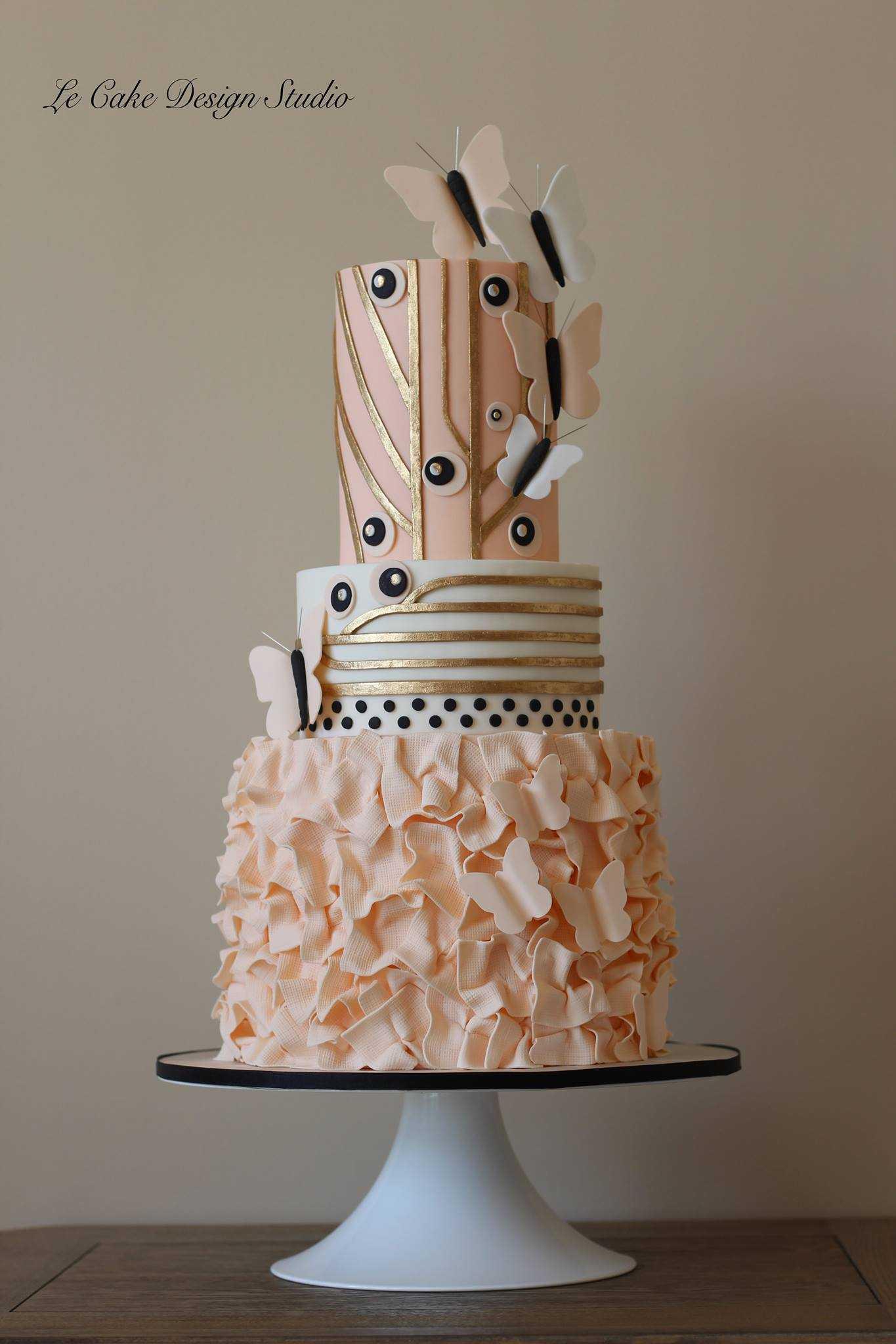 Peach rosette ruffle wedding cake
