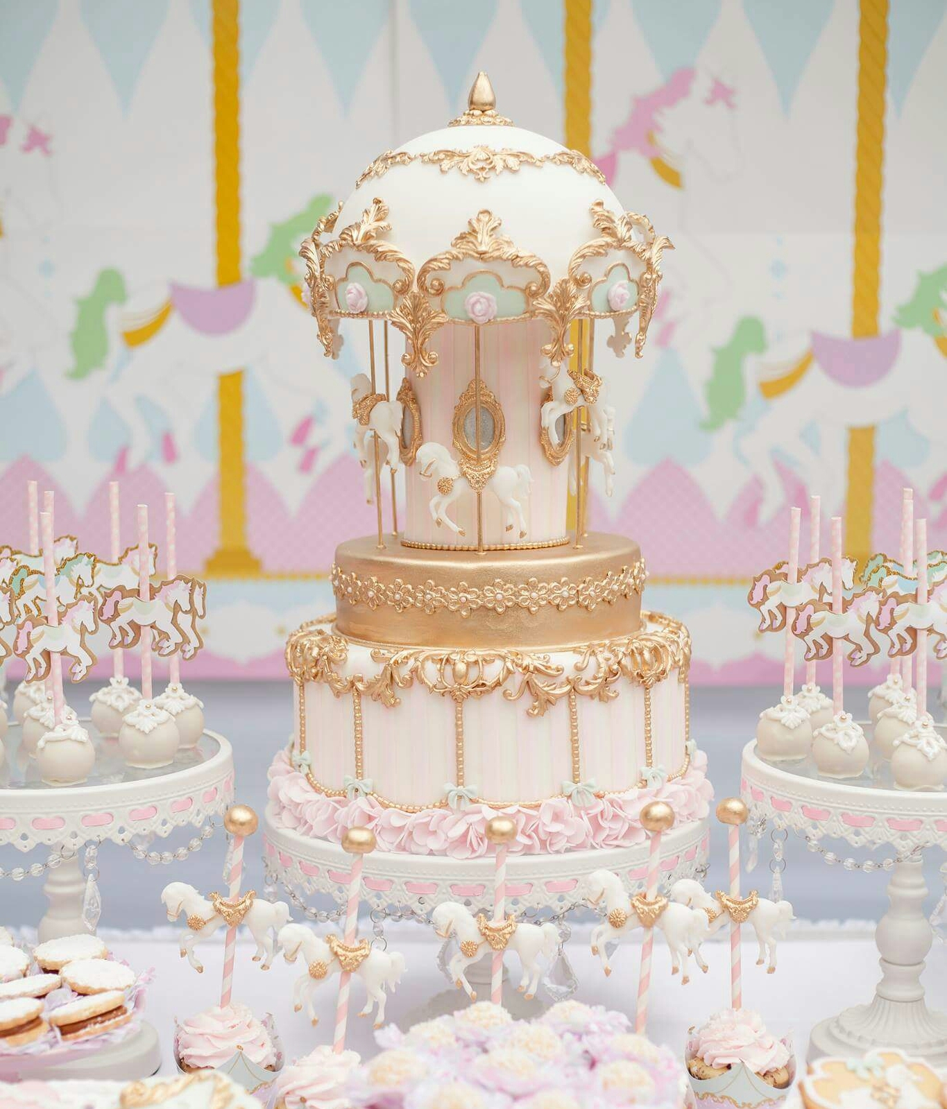 PInk and gold Horse Carousel party dessert table