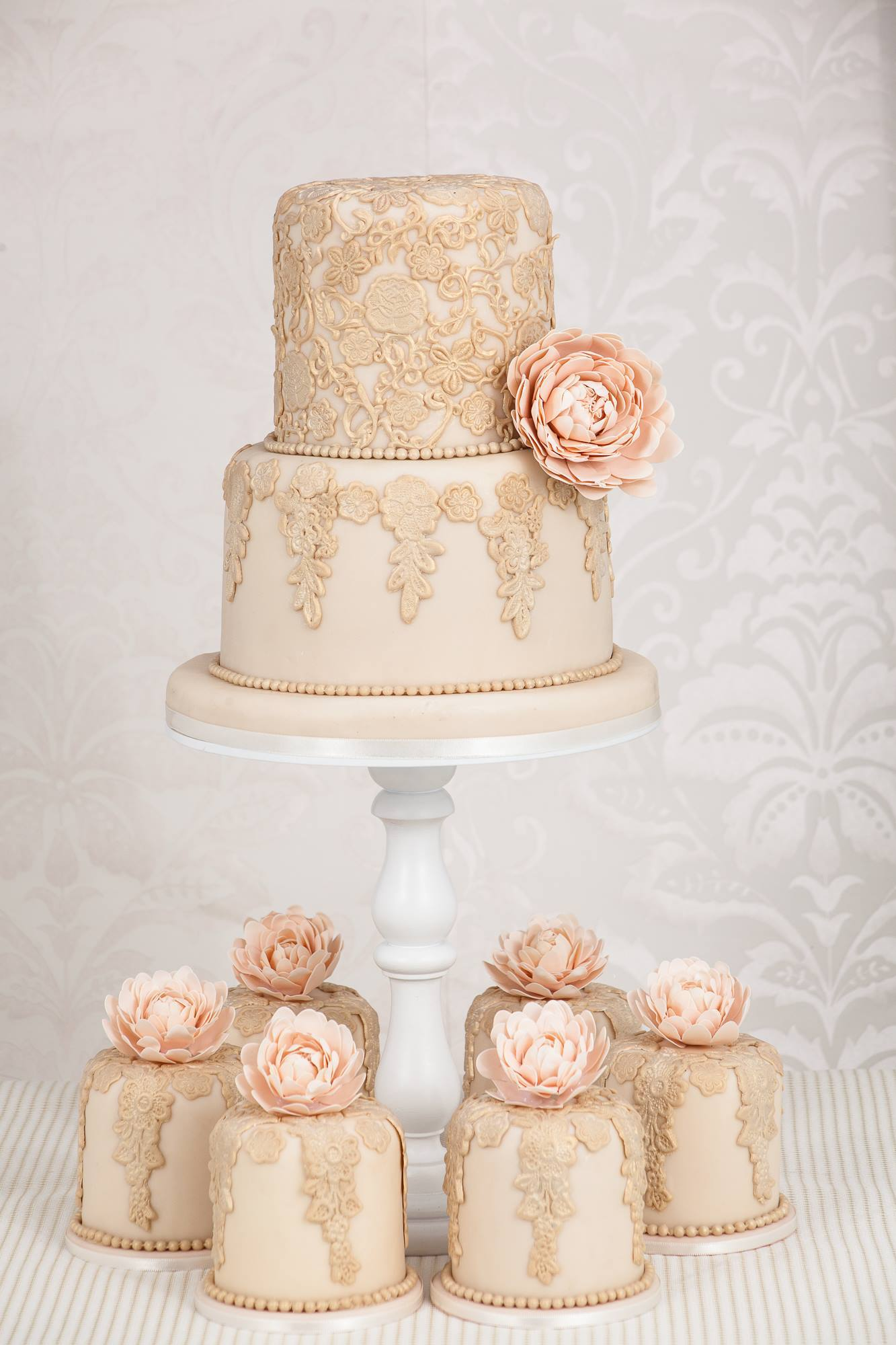 Ivory Lace  & Peach Wedding Cakes